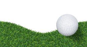 Fundo da bola de golfe e da grama verde com área para o espaço da cópia Vetor ilustração royalty free