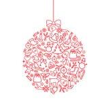 Fundo da bola do ícone do Natal Cartão do feriado do Natal da garatuja ilustração royalty free