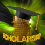 Fundo da bolsa de estudos e símbolo da graduação