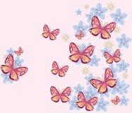 Fundo da borboleta e das flores Ilustração Stock