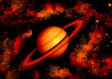 Fundo da bordadura do planeta de Saturn por estrelas vermelhas ilustração stock