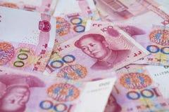 Fundo da cédula do dinheiro 100 de China Fotografia de Stock