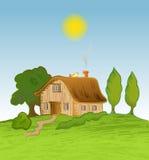 Fundo da casa do vetor com árvores ilustração stock