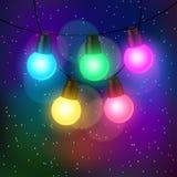 Fundo da celebração com a festão dos bulbos Fotografia de Stock