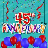 Fundo da celebração do aniversário com confetes e balão Fotos de Stock