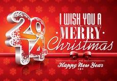 Fundo da celebração do vermelho do ano novo feliz 2014 de VectorVector com fita Imagens de Stock