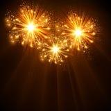 Fundo da celebração dos fogos-de-artifício do ano novo feliz 2014 Imagens de Stock