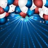 Fundo da celebração com balões e confetes coloridos Projeto do cartaz do Dia da Independência Imagens de Stock Royalty Free