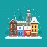 Fundo da cidade do inverno Imagens de Stock Royalty Free