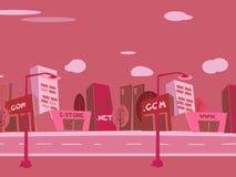 Fundo da cidade dos desenhos animados Fotos de Stock Royalty Free