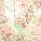 Fundo da colagem do vintage - projeto do papel do álbum de recortes - estoque dos meios mistos - floral e coisas efêmeras ilustração royalty free