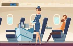 Fundo da comissária de bordo Pessoas da empresa de Avia que estão em pilotos da mosca da paisagem do aeroporto de desenhos animad ilustração do vetor
