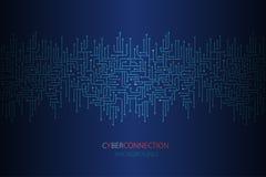 Fundo da conexão do Cyber com beira sem emenda do circuito eletrônico ilustração royalty free