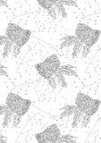 Fundo da constelação da constelação preto e branco dos peixes do ouro na forma geométrica ilustração stock