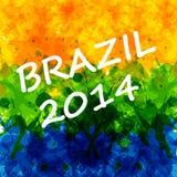 Fundo da cor de água com cores brasileiras da bandeira Imagens de Stock