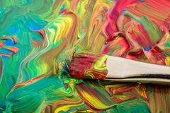 Fundo da cor de água com escova Imagens de Stock