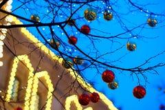 Fundo da decoração da árvore de Natal de Moscou imagem de stock