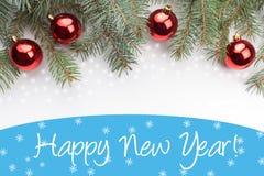 Fundo da decoração do Natal com ano novo feliz do ` do cumprimento do ano novo! ` Fotografia de Stock Royalty Free