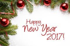 Fundo da decoração do Natal com ano novo feliz 2017 do ` do cumprimento do ano novo! ` Fotografia de Stock