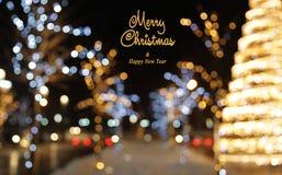 Fundo da decoração do Natal com incandescência das luzes Foto de Stock