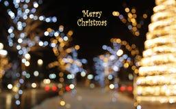 Fundo da decoração do Natal com incandescência das luzes Fotografia de Stock