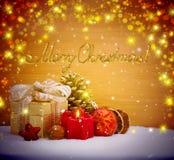 Fundo da decoração do Natal com vela do advento Imagens de Stock Royalty Free