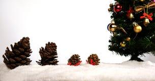 Fundo da decoração do Natal ou do ano novo cones do pinho do presente Imagens de Stock Royalty Free