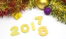 Fundo 2018 da decoração do ouro do numeral do ano novo feliz Fotos de Stock Royalty Free