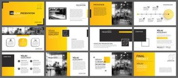 Fundo da disposição da apresentação e da corrediça Molde geométrico do inclinação amarelo e alaranjado do projeto Uso para o info ilustração do vetor
