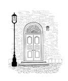 Fundo da entrada Illustrati do desenho da mão da entrada da porta da casa ilustração stock