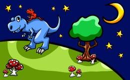 Fundo da era do dinossauro de uma estadia de T Rex Dad And Son Bonding ilustração royalty free