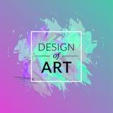 Fundo da escova de pintura do vetor com projeto quadrado do quadro e do texto da arte Cor verde da tampa abstrata e cor-de-rosa g Fotografia de Stock Royalty Free