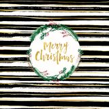 Fundo da escova do projeto de cartão do Feliz Natal e rotulação preto e branco do ouro Imagem de Stock