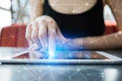 Fundo da esfera 3D da rede do voo Tecnologia do negócio e conceito do Internet Fotografia de Stock Royalty Free