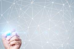 Fundo da esfera 3D da rede do voo Tecnologia do negócio e conceito do Internet Relação moderna da tela virtual Foto de Stock