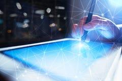 Fundo da esfera 3D da rede do voo Tecnologia do negócio e conceito do Internet Relação moderna da tela virtual Foto de Stock Royalty Free