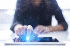 Fundo da esfera 3D da rede do voo Tecnologia do negócio e conceito do Internet Relação moderna da tela virtual Fotografia de Stock