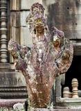 Fundo da estátua do Bas-relevo da cultura do Khmer em Angkor Wat, came Fotografia de Stock