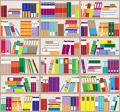 Fundo da estante Prateleiras completamente de livros coloridos Biblioteca home com livros Ilustração ascendente próxima do vetor  Imagens de Stock Royalty Free
