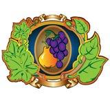 Fundo da etiqueta da uva da pera Fotos de Stock Royalty Free