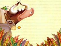 Fundo da exploração agrícola com animais Imagem de Stock