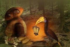 Fundo da fantasia pássaro com uma lanterna em seu bico em uma floresta feericamente imagens de stock royalty free