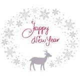 Fundo da festão da neve do Natal com cabra Fotos de Stock