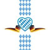 Fundo da fita da bandeira de Baviera Alemanha do coração de Oktoberfest ilustração royalty free