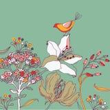Fundo da flor com pássaro Imagens de Stock Royalty Free