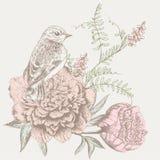 Fundo da flor com pássaro Fotografia de Stock