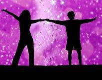 Fundo da flor e pares felizes Imagem de Stock