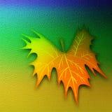 Fundo da folha da arte abstrato folha da queda 3D gravada no fundo colorido agradável Papel decorativo temático do outono imagem de stock royalty free