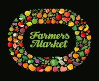 Fundo da fruta e verdura Projeto liso moderno Alimento saudável ilustração do vetor