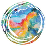 Fundo da galáxia da aquarela ilustração royalty free
